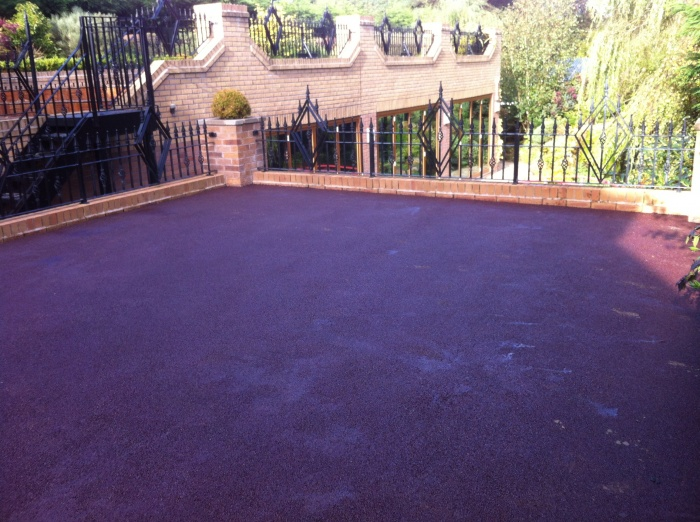 red tarmac on a balcony