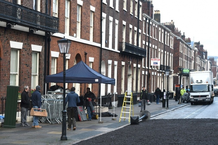 Peaky Blinders set with asphalt