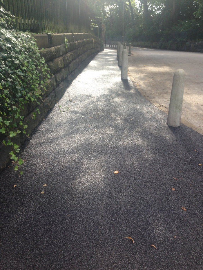 asphalt footpath recently surfaced